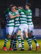 30 April 2021; Rory Gaffney, second left, is congratulated by Shamrock Rovers teammates, from left, Aaron Greene, Sean Hoare and Sean Gannon after scoring his side's first goal during the SSE Airtricity League Premier Division match between Finn Harps and Shamrock Rovers at Finn Park in Ballybofey, Donegal. Photo by Stephen McCarthy/Sportsfile