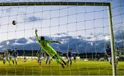 30 April 2021; Sean Hoare of Shamrock Rovers heads his side's second goal past Finn Harps goalkeeper Mark Anthony McGinley during the SSE Airtricity League Premier Division match between Finn Harps and Shamrock Rovers at Finn Park in Ballybofey, Donegal. Photo by Stephen McCarthy/Sportsfile