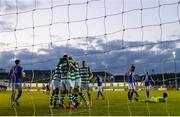 30 April 2021; Shamrock Rovers players celebrate their side's first goal, scored by Rory Gaffney, during the SSE Airtricity League Premier Division match between Finn Harps and Shamrock Rovers at Finn Park in Ballybofey, Donegal. Photo by Stephen McCarthy/Sportsfile