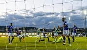 30 April 2021; Rory Gaffney of Shamrock Rovers shoots to score his side's first goal past Finn Harps goalkeeper Mark Anthony McGinley during the SSE Airtricity League Premier Division match between Finn Harps and Shamrock Rovers at Finn Park in Ballybofey, Donegal. Photo by Stephen McCarthy/Sportsfile