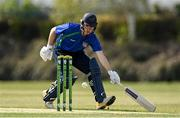 1 May 2021; Stephen Doheny of North West Warriors avoids being run out during the Inter-Provincial Cup 2021 match between Leinster Lightning and North West Warriors at Pembroke Cricket Club in Dublin. Photo by Brendan Moran/Sportsfile