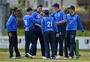 1 May 2021; Leinster Lightning players celebrate taking the wicket of Shane Getkate of North West Warriors, caught by JJ Garth and bowled by Peter Chase, during the Inter-Provincial Cup 2021 match between Leinster Lightning and North West Warriors at Pembroke Cricket Club in Dublin. Photo by Brendan Moran/Sportsfile