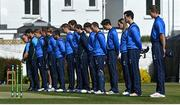 1 May 2021; The Leinster Lightning team observe a minute's silence in honour of long-term Pembroke cricket club member Cyril Irwin before the Inter-Provincial Cup 2021 match between Leinster Lightning and North West Warriors at Pembroke Cricket Club in Dublin. Photo by Brendan Moran/Sportsfile
