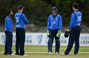 1 May 2021; Leinster Lightning wicketkeeper Lorcan Tucker in discussion with bowlers, from left, Simi Singh, Jack Tector and George Dockrell during the Inter-Provincial Cup 2021 match between Leinster Lightning and North West Warriors at Pembroke Cricket Club in Dublin. Photo by Brendan Moran/Sportsfile