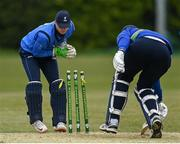 1 May 2021; Boyd Rankin of North West Warriors is run out by Leinster Lightning wicketkeeper Lorcan Tucker to end the innings during the Inter-Provincial Cup 2021 match between Leinster Lightning and North West Warriors at Pembroke Cricket Club in Dublin. Photo by Brendan Moran/Sportsfile