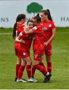 1 May 2021; Emily Whelan of Shelbourne, left, celebrates with team-mates, including Pearl Slattery, right, after scoring her side's first goal during the SSE Airtricity Women's National League match between Shelbourne and DLR Waves at Tolka Park in Dublin. Photo by Eóin Noonan/Sportsfile