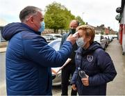 1 May 2021; Republic of Ireland manager Vera Pauw has her temperature taken before the SSE Airtricity Women's National League match between Shelbourne and DLR Waves at Tolka Park in Dublin. Photo by Eóin Noonan/Sportsfile