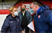 1 May 2021; Republic of Ireland manager Vera Pauw and goalkeeping coach Jan Willem van Ede are welcomed to Tolka Park by Shelbourne official Donal O'Dwyer before the SSE Airtricity Women's National League match between Shelbourne and DLR Waves at Tolka Park in Dublin. Photo by Eóin Noonan/Sportsfile