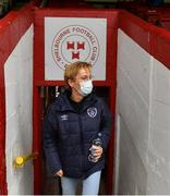 1 May 2021; Republic of Ireland manager Vera Pauw arriving to Tolka Park before the SSE Airtricity Women's National League match between Shelbourne and DLR Waves at Tolka Park in Dublin. Photo by Eóin Noonan/Sportsfile