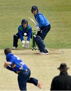 1 May 2021; Batsman Jack Tector of Leinster Lightning and North West Wariors wicketkeeper Stephen Doheny watch a delivery from Andy McBrine during the Inter-Provincial Cup 2021 match between Leinster Lightning and North West Warriors at Pembroke Cricket Club in Dublin. Photo by Brendan Moran/Sportsfile