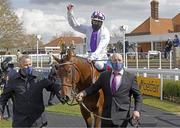 1 May 2021; Jockey Kevin Manning celebrates after riding Poetic Flare to victory in the Qipco 2000 Guineas Stakes at Newmarket Racecourse in Newmarket, England. Dan Abraham /Sportsfile