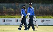 1 May 2021; Simi Singh, left, and George Dockrell of Leinster Lightning after hitting the winning runs during the Inter-Provincial Cup 2021 match between Leinster Lightning and North West Warriors at Pembroke Cricket Club in Dublin. Photo by Brendan Moran/Sportsfile