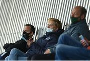 1 May 2021; Republic of Ireland women's manager Vera Pauw, centre, League of Ireland Director Mark Scanlon, left, and goalkeeping coach Jan Willem van Ede during the SSE Airtricity Women's National League match between Athlone Town and Cork City at Athlone Town Stadium in Athlone, Westmeath. Photo by Ramsey Cardy/Sportsfile