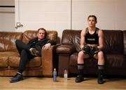 1 May 2021; Katie Taylor and her manager Brian Peters before her WBC, WBA, IBF and WBO female lightweight title fight against Natasha Jonas at the Manchester Arena in Manchester, England. Photo by Mark Robinson / Matchroom Boxing via Sportsfile