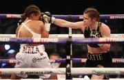 1 May 2021; Katie Taylor, right, in action against Natasha Jonas during their WBC, WBA, IBF and WBO female lightweight title fight at the Manchester Arena in Manchester, England. Photo by Mark Robinson / Matchroom Boxing via Sportsfile