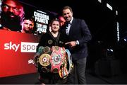 1 May 2021; Katie Taylor with promoter Eddie Hearn following her victory over Natasha Jonas in their WBC, WBA, IBF and WBO female lightweight title fight at the Manchester Arena in Manchester, England. Photo by Mark Robinson / Matchroom Boxing via Sportsfile