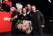 1 May 2021; Katie Taylor with her team, from left, trainer Ross Enamait, promoter Eddie Hearn, and manager Brian Peters, after defeating Natasha Jonas in their WBC, WBA, IBF and WBO female lightweight title fight at the Manchester Arena in Manchester, England. Photo by Mark Robinson / Matchroom Boxing via Sportsfile