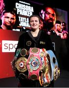 1 May 2021; Katie Taylor with her belts after defeating Natasha Jonas in their WBC, WBA, IBF and WBO female lightweight title fight at the Manchester Arena in Manchester, England. Photo by Mark Robinson / Matchroom Boxing via Sportsfile