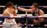 1 May 2021; Katie Taylor, right, and Natasha Jonas during their WBC, WBA, IBF and WBO female lightweight title fight at the Manchester Arena in Manchester, England. Photo by Mark Robinson / Matchroom Boxing via Sportsfile