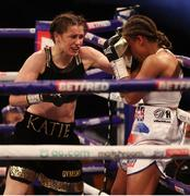 1 May 2021; Katie Taylor, left, and Natasha Jonas during their WBC, WBA, IBF and WBO female lightweight title fight at the Manchester Arena in Manchester, England. Photo by Mark Robinson / Matchroom Boxing via Sportsfile