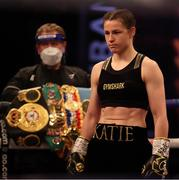 1 May 2021; Katie Taylor prior to her WBC, WBA, IBF and WBO female lightweight title fight against Natasha Jonas at the Manchester Arena in Manchester, England. Photo by Mark Robinson / Matchroom Boxing via Sportsfile