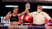 1 May 2021; Katie Taylor is declared the winner following her  WBC, WBA, IBF and WBO female lightweight title fight against Natasha Jonas at the Manchester Arena in Manchester, England. Photo by Mark Robinson / Matchroom Boxing via Sportsfile