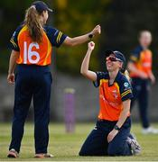 2 May 2021; Ashlee King of Scorchers, right, is congratulated by teammate Leah Paul after fielding the ball during the Arachas Super 50 Cup 2021 match between Typhoons and Scorchers at Pembroke Cricket Club in Dublin. Photo by Seb Daly/Sportsfile