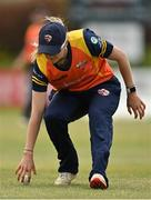 2 May 2021; Gaby Lewis of Scorchers fields the ball during the Arachas Super 50 Cup 2021 match between Typhoons and Scorchers at Pembroke Cricket Club in Dublin. Photo by Seb Daly/Sportsfile