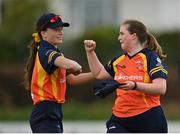 2 May 2021; Lara Maritz, left, and Jenny Sparrow of Scorchers during the Arachas Super 50 Cup 2021 match between Typhoons and Scorchers at Pembroke Cricket Club in Dublin. Photo by Seb Daly/Sportsfile