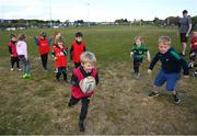 2 May 2021; Alfie Jones, son of former Munster, Leinster and Ireland player Felix Jones, during Seapoint Minis rugby training at Seapoint RFC in Dublin. Photo by Ramsey Cardy/Sportsfile