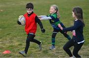 2 May 2021; Maxim Tadayeski and Molly Corrigan during Seapoint Minis rugby training at Seapoint RFC in Dublin. Photo by Ramsey Cardy/Sportsfile