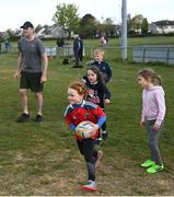 2 May 2021; Grace O'Malley during Seapoint Minis rugby training at Seapoint RFC in Dublin. Photo by Ramsey Cardy/Sportsfile