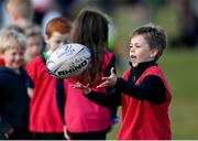 2 May 2021; Leo Tadayeski during Seapoint Minis rugby training at Seapoint RFC in Dublin. Photo by Ramsey Cardy/Sportsfile