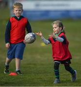 2 May 2021; Livia Cowzer during Seapoint Minis rugby training at Seapoint RFC in Dublin. Photo by Ramsey Cardy/Sportsfile