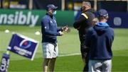 2 May 2021; Leinster backs coach Felipe Contepomi, left, speaking to La Rochelle director of rugby Jono Gibbes before the Heineken Champions Cup semi-final match between La Rochelle and Leinster at Stade Marcel Deflandre in La Rochelle, France. Photo by Julien Poupart/Sportsfile