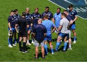 2 May 2021; Referee Matthew Carley speaks to the Leinster pack and captain Luke McGrath, left, before the Heineken Champions Cup semi-final match between La Rochelle and Leinster at Stade Marcel Deflandre in La Rochelle, France. Photo by Julien Poupart/Sportsfile