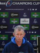 2 May 2021; Leinster head coach Leo Cullen is interviewed by television before the Heineken Champions Cup semi-final match between La Rochelle and Leinster at Stade Marcel Deflandre in La Rochelle, France. Photo by Julien Poupart/Sportsfile