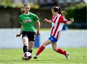 2 May 2021; Lauryn O'Callaghan of Peamount United in action against Aoife Horgan of Treaty United during the SSE Airtricity Women's National League match between Treaty United and Peamount United at Jackman Park in Limerick. Photo by Piaras Ó Mídheach/Sportsfile
