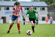 2 May 2021; Tara O'Gorman of Treaty United in action against Sadhbh Doyle of Peamount United during the SSE Airtricity Women's National League match between Treaty United and Peamount United at Jackman Park in Limerick. Photo by Piaras Ó Mídheach/Sportsfile