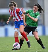 2 May 2021; Tara O'Gorman of Treaty United in action against Tiegan Ruddy of Peamount United during the SSE Airtricity Women's National League match between Treaty United and Peamount United at Jackman Park in Limerick. Photo by Piaras Ó Mídheach/Sportsfile