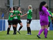 2 May 2021; Eleanor Ryan-Doyle of Peamount United, left, celebrates with team-mates after scoring her side's third goal during the SSE Airtricity Women's National League match between Treaty United and Peamount United at Jackman Park in Limerick. Photo by Piaras Ó Mídheach/Sportsfile