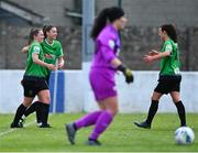 2 May 2021; Eleanor Ryan-Doyle of Peamount United, left, celebrates with team-mates Lauryn O'Callaghan and Áine O'Gorman, right, after scoring her side's third goal during the SSE Airtricity Women's National League match between Treaty United and Peamount United at Jackman Park in Limerick. Photo by Piaras Ó Mídheach/Sportsfile
