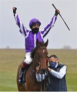 2 May 2021; Jockey Frankie Dettori celebrates after riding Mother Earth to victory in the Qipco 1000 Guineas Stakes at Newmarket Racecourse in Newmarket, England. Hugh Routledge/Sportsfile
