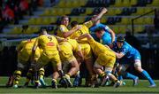 2 May 2021; Leinster players Rónan Kelleher, Cian Healy of Leinster and Ryan Baird during a scrum with the La Rochelle pack during the Heineken Champions Cup semi-final match between La Rochelle and Leinster at Stade Marcel Deflandre in La Rochelle, France. Photo by Julien Poupart/Sportsfile