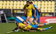 2 May 2021; Raymond Rhule of La Rochelle is tackled by Jordan Larmour of Leinster during the Heineken Champions Cup semi-final match between La Rochelle and Leinster at Stade Marcel Deflandre in La Rochelle, France. Photo by Julien Poupart/Sportsfile