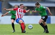 2 May 2021; Eve O'Sullivan of Treaty United in action against Áine O'Gorman, left, and Eleanor Ryan-Doyle of Peamount United during the SSE Airtricity Women's National League match between Treaty United and Peamount United at Jackman Park in Limerick. Photo by Piaras Ó Mídheach/Sportsfile