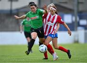 2 May 2021; Tiegan Ruddy of Peamount United in action against Alannah Mitchell of Treaty United during the SSE Airtricity Women's National League match between Treaty United and Peamount United at Jackman Park in Limerick. Photo by Piaras Ó Mídheach/Sportsfile