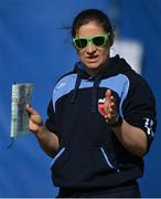 2 May 2021; Typhoons head coach Clare Shillington before the Arachas Super 50 Cup 2021 match between Typhoons and Scorchers at Pembroke Cricket Club in Dublin. Photo by Seb Daly/Sportsfile