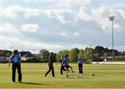 2 May 2021; Typhoons players warm-up before the Arachas Super 50 Cup 2021 match between Typhoons and Scorchers at Pembroke Cricket Club in Dublin. Photo by Seb Daly/Sportsfile