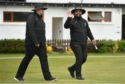 2 May 2021; Umpires Steve Woods and Azam Ali Baig during the Arachas Super 50 Cup 2021 match between Typhoons and Scorchers at Pembroke Cricket Club in Dublin. Photo by Seb Daly/Sportsfile